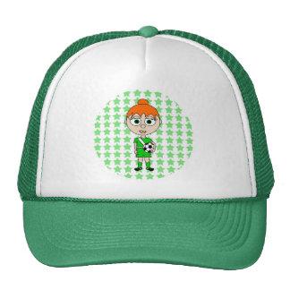 Little Girl Soccer Star Green Red Hair Trucker Hat