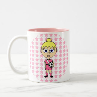 Little Girl Soccer Star Pink Blond Hair Two-Tone Coffee Mug