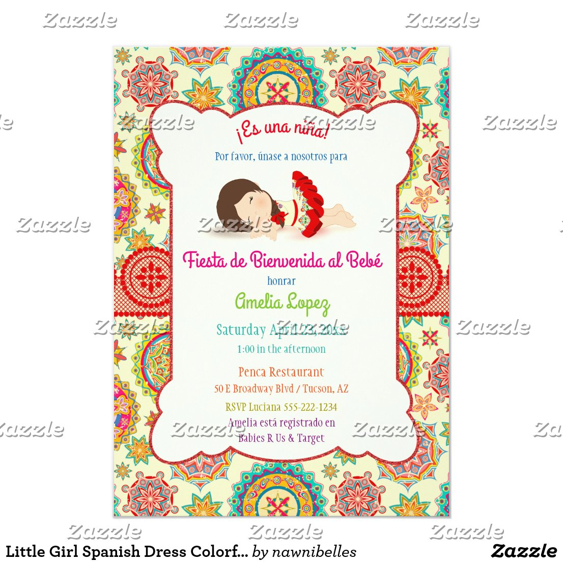 Little Girl Spanish Dress Colorful Baby Shower Card