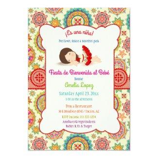 Little Girl Spanish Dress Colorful Baby Shower Card