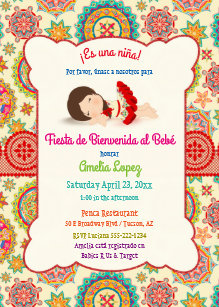 Little Spanish Dress Colorful Baby Shower Invitation