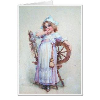 Little Girl & Spinning Wheel Card