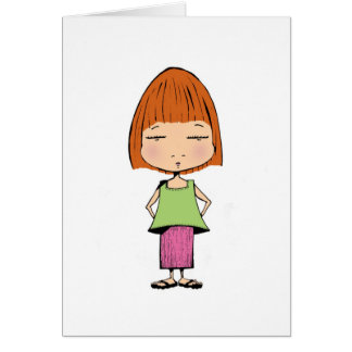 Little girl stands alone... card
