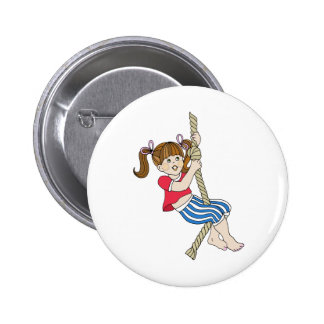 Little Girl Swinging on Rope Pinback Buttons