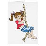 Little Girl Swinging on Rope Card