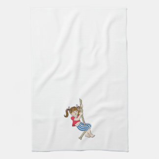 Little Girl Swinging on Rope Towels