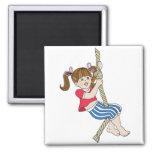 Little Girl Swinging on Rope Magnet