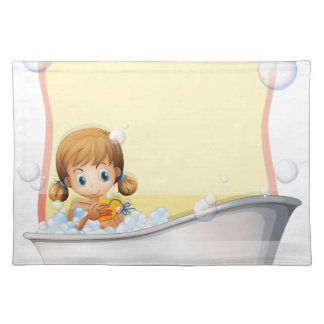 Little girl taking a bath placemat