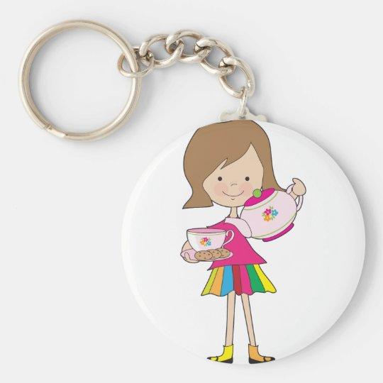 Little Girl Tea Keychain