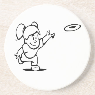 Little Girl Throwing Disc Drink Coasters