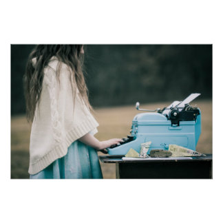 Little Girl Typing a Story Poster