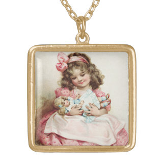 Little Girl w/doll Vintage Gold Plated Necklace