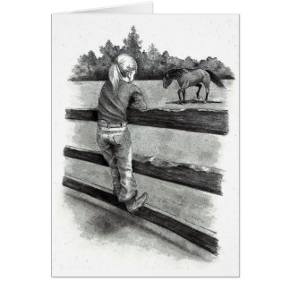 Little Girl Watching Horse in Pasture: Pencil Card