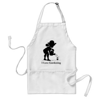 Little girl watering seedling - I Love Gardening Adult Apron