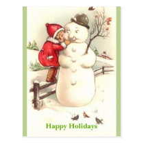 Little Girl Whispering to Snowman Happy Holidays Postcard