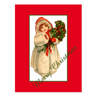 Little Girl White Fur Coat and bundle of Holly Postcard