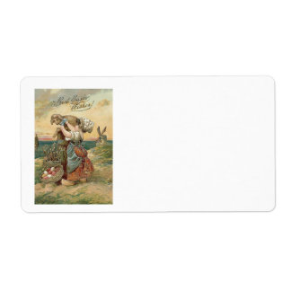 Little Girl Windmill Easter Egg Lamb Label