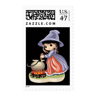 Little Girl Witch Brewing Postage Stamp