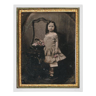 Little girl with a basket of flowers (40319) poster