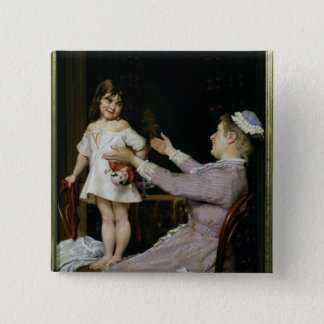 Little Girl with a Doll and Her Nurse, 1896 Button