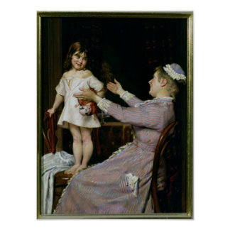 Little Girl with a Doll and Her Nurse, 1896 Poster