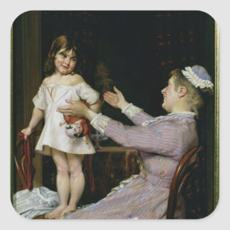 Little Girl with a Doll and Her Nurse, 1896 Square Sticker