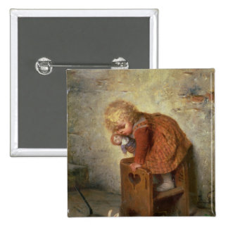 Little Girl with a Rabbit 2 Inch Square Button