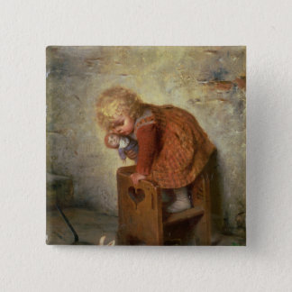 Little Girl with a Rabbit Pinback Button