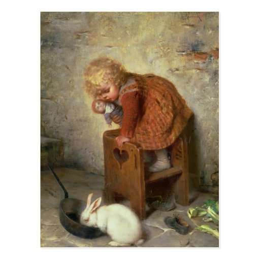 Little Girl with a Rabbit Post Cards