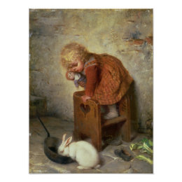 Little Girl with a Rabbit Poster