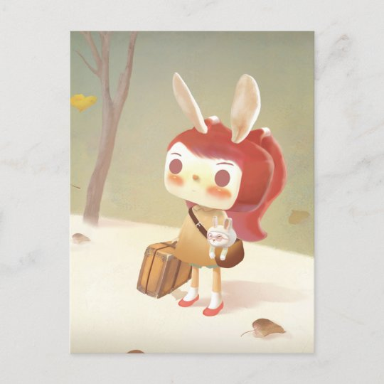 Little Girl with A Suitcase Lost in The Forest Announcement Postcard