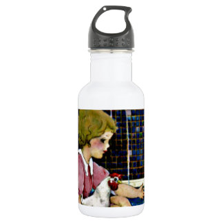 Little Girl with baby chicks Stainless Steel Water Bottle