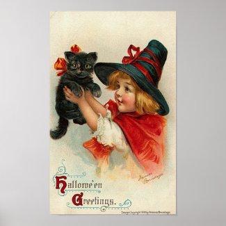 Little Girl with Black Kitten Posters