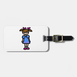 Little Girl With Blue Dress Bag Tags