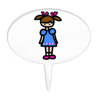 Little Girl With Blue Dress Cake Toppers