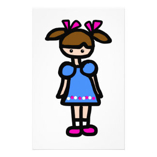 Little Girl With Blue Dress Stationery Paper