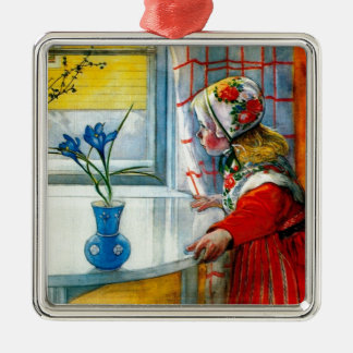 Little Girl with Blue Iris Square Metal Christmas Ornament