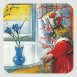 Little Girl with Blue Iris Square Sticker