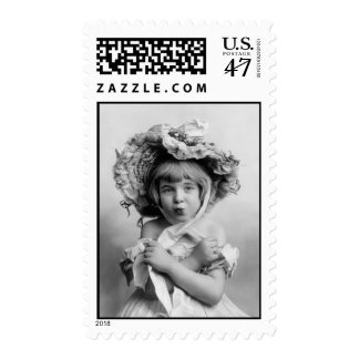 Little Girl with Bonnet Stamp