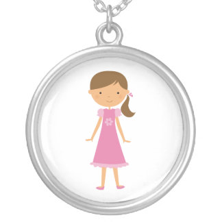 Little Girl with Brown Ponytail Necklace