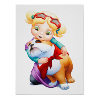 Little Girl with Bulldog Nursery Print