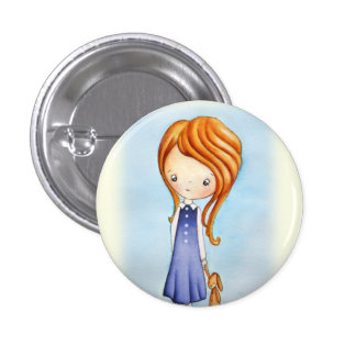 Little Girl with Bunny Plush Friend Button