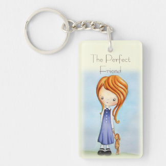 Little Girl with Bunny Plush Friend Key Chain