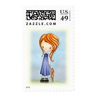 Little Girl with Bunny Plush Friend Postage Stamp