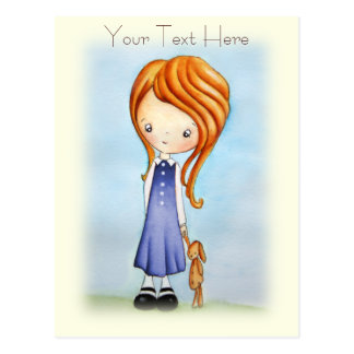 Little Girl with Bunny Plush Friend Postcard