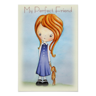 Little Girl with Bunny Plush Friend Poster