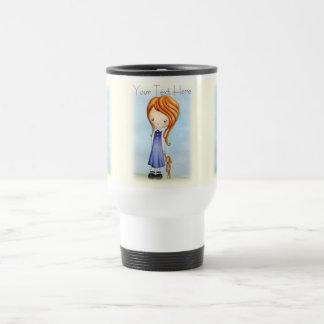 Little Girl with Bunny Plush Friend Travel Mug