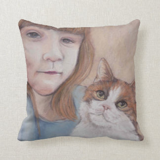 Little Girl with Calico Cat Pillow