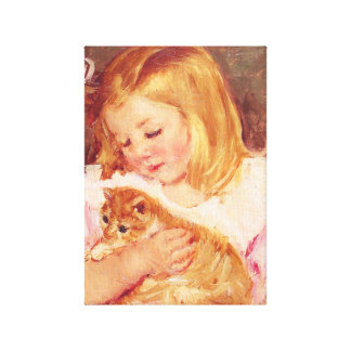 Little Girl with Cat Canvas Print