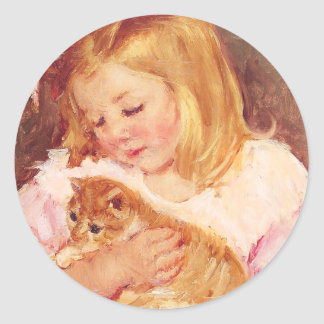Little Girl with Cat Classic Round Sticker